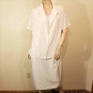 Roaman's 18W White 2 Pc Dress & Blouse